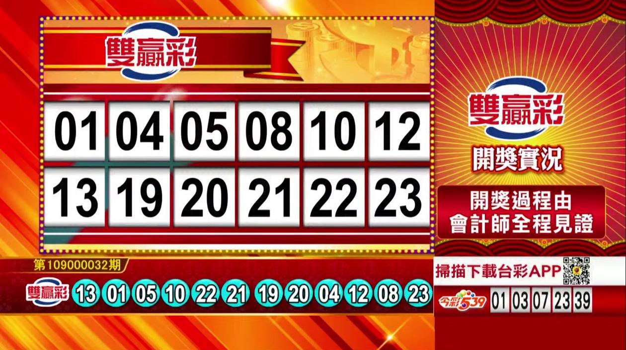 雙贏彩中獎號碼》第109000032期 民國109年2月6日