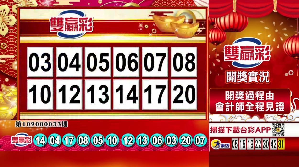 雙贏彩中獎號碼》第109000033期 民國109年2月7日