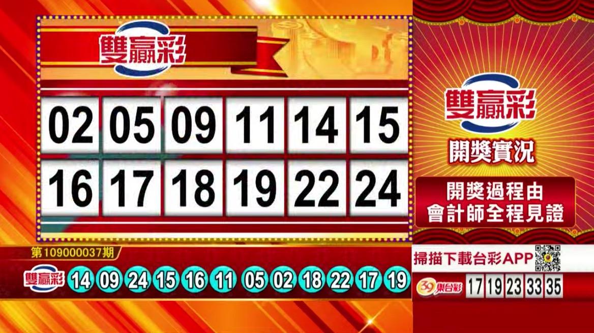 雙贏彩開獎號碼》第109000037期 民國109年2月12日