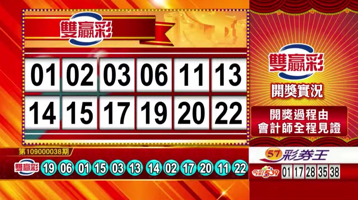 雙贏彩中獎號碼》第109000038期 民國109年2月13日